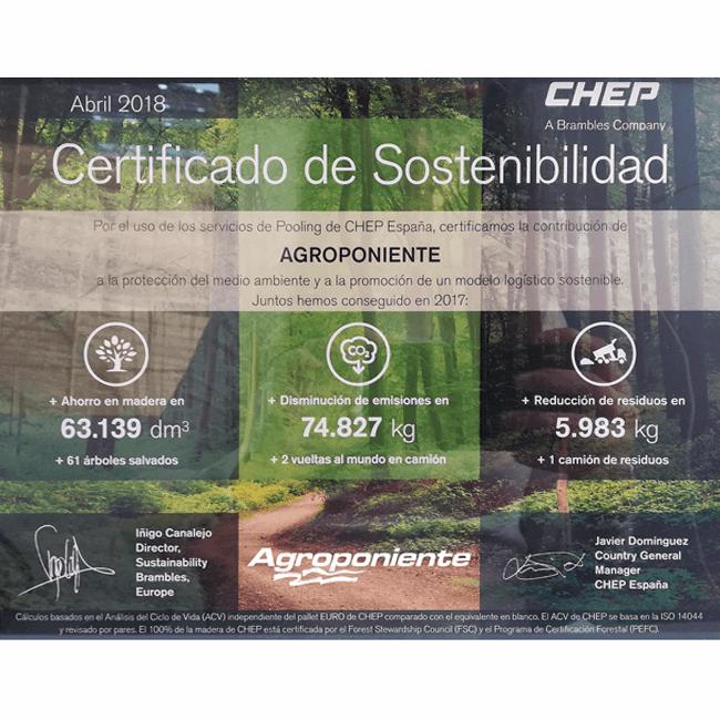 Recibimos el certificado de sostenibilidad de Chep