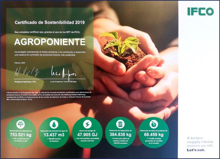 Grupo Agroponiente recibe uno de los Certificados de Sostenibilidad 2019 de la empresa IFCO